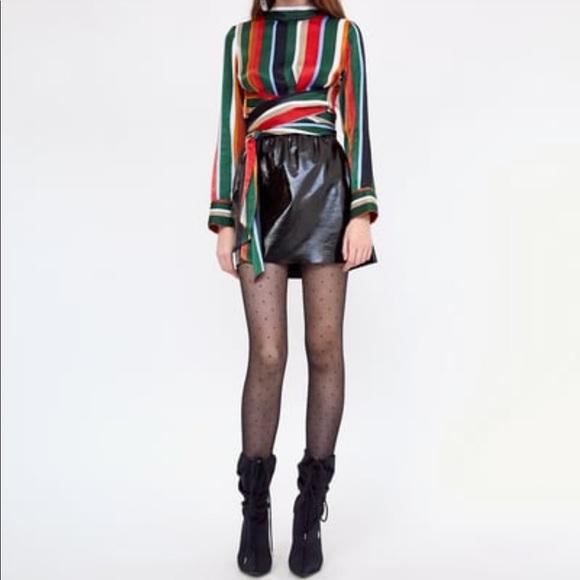 Zara Tops - SOLD - Zara satiny multicolored striped top